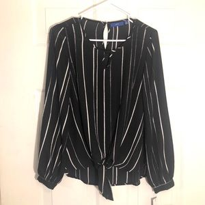 New APT. 9 Black and White Striped Blouse